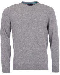 Barbour - Essential Lambswool Crew Neck Sweater Grey Marl - Lyst