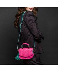 Thale Blanc Audrey Micro: Pink & Teal Croc-embossed Designer Crossbody Bag