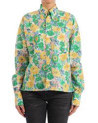 Plan C Floral Print Cotton Shirt - Green