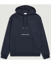 Closed Hooded Sweatshirt With Embroidery Navy - Blue