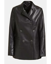 Guess Double Breasted Faux Leather Blazer - Black