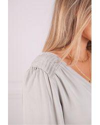 Bella Dahl V Neck Smocked Top In Soft Stone - Grey