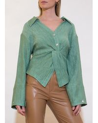 Nanushka Idris Blouse - Metallic Green