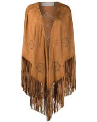 Golden Goose Beige Leather Poncho - Brown