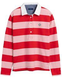 GANT Ladies Block Striped Heavy Rugger Top - Red