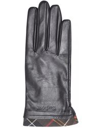 Barbour - Tartan Trimmed Leather Glove - Lyst