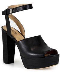 6906e9ba4 MICHAEL Michael Kors - Michael Kors Trina Platform Black Sandals 40.5 - Lyst