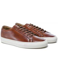 Loake Hand-painted Leather Sprint Sneakers Colour: Brown