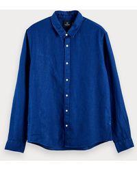 Scotch & Soda 100% Linen Long Sleeved Shirt - Blue