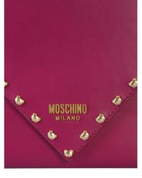 Moschino - Leather Clutch With Teddy Studs - Lyst