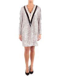 Isabelle Blanche Paris Women's A082t012argentoenero Silver Polyester Dress - Metallic