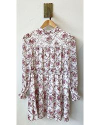 Glamorous Floral Dress With Lace Panel Detail - Multicolour