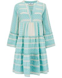 Devotion New Season - Ella Short Dress Baby /off White - Blue