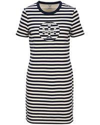 Tory Burch Striped Logo T-shirt Dress - Blue