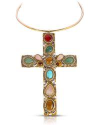 Thale Blanc Byzantine Cross Necklace - Metallic