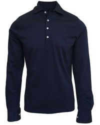 Stenströms Navy Long Sleeve Polo Shirt 190 - Blue