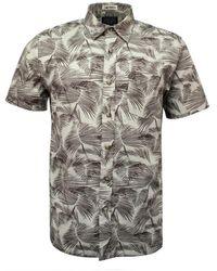 Pendleton Aloha Shirt Palm Leaf Print Tan - Brown