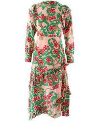 Hayley Menzies Eden Rose Midi Frill Dress - Pink