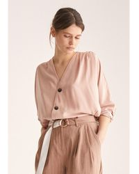 Paisie Batwing Blouse With Ruched Shoulders & Diagonal Buttons In Blush - Pink