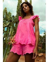 Juliet Dunn Babydoll Top Neon - Pink