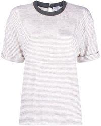 Brunello Cucinelli - Women's Mh964hl500c8656 White Linen T-shirt - Lyst