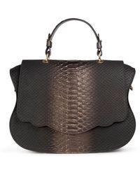 Thale Blanc Audrey Satchel: Pewter Snakeskin Designer Handbag - Brown