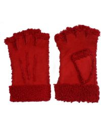 Maison Fabre Larzac Sheepskin Leather Mittens Gloves - Red
