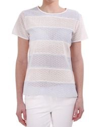 Paul by Paul Smith Paul Smith Paul Broidery Anglaise Wide Striped Ss Cn Top - White