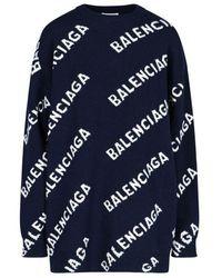Balenciaga Women's 620983t15674177 Blue Wool Sweater