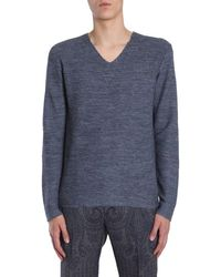 Etro V Collar Jumper - Blue