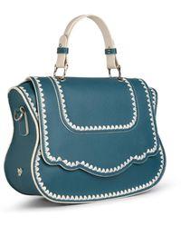 Thale Blanc Audrey Satchel: Teal Designer Satchel Bag With White Stitching - Blue
