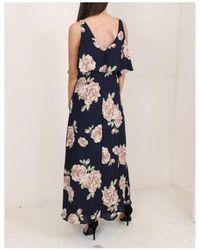 Dex Floral Cold Shoulder Maxi Dress - Blue