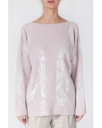 Tabaroni Cashmere Sweater With Sequins - Pink