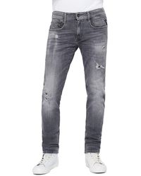 Replay Anbass Slim Jeans - 10 Year Aged Rip & Repair - Gray