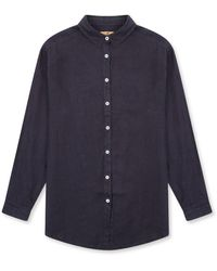 Burrows and Hare Burrows & Hare 's Linen Shirt - Charcoal - Blue