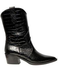 Via Roma 15 Black Snake Pattern Leather Cowboy Booties