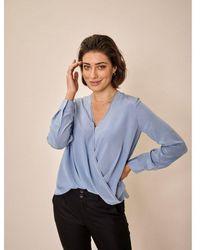 Mos Mosh Jane Silk Blouse Colour: Bel Air - Blue