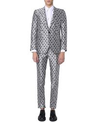 Dolce & Gabbana Gold Fit Silk Suit With All Over Logo Print - Black