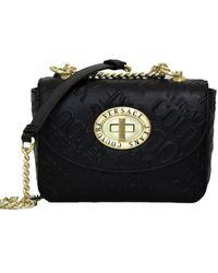 Versace Jeans Couture Borsa Con Tracolla Fissa E Logo Allover In Rilievo - Black
