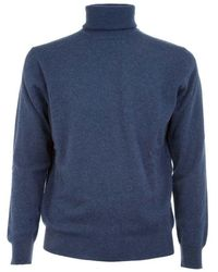 Ones Men's 005338k Blue Cashmere Sweater