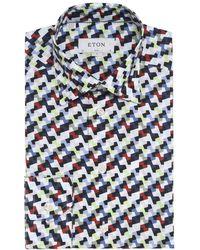 Eton of Sweden - Slim Fit Patterned Poplin Shirt - Lyst