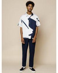 Folk Folk Gabe Shirt In Border Print Navy & Ecru - Blue