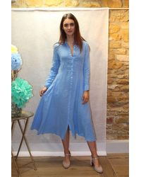 120% Lino Embroidered Linen Dress In Blue Harbour