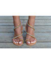 Atterley - Sandals 3 Strap Blue Crystals - Lyst