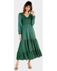 Aspiga Fleur Satin Shirred Long Midi Dress | Olive - Green