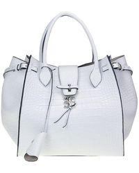 Ermanno Scervino Crocodile Print Leather Bag - White