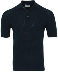 John Smedley Brushwood Textured Polo (orion Green) - Blue