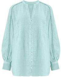 120% Lino Pintuck Shirt In Pacific - Blue