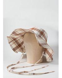Rejina Pyo Daisy Hat - Cotton Linen Blend Check - Brown