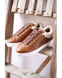 See By Chloé Shearling Lined Tan Sneakers - Brown